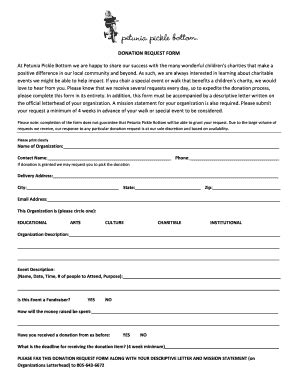 donation request form fill  printable fillable