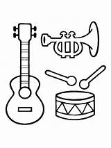 Instruments Musical Coloring Instrument Printable Bright Colors Favorite Mycoloring sketch template