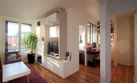 separation cuisine style atelier aménagement chambre dans un cube buttes aux cailles