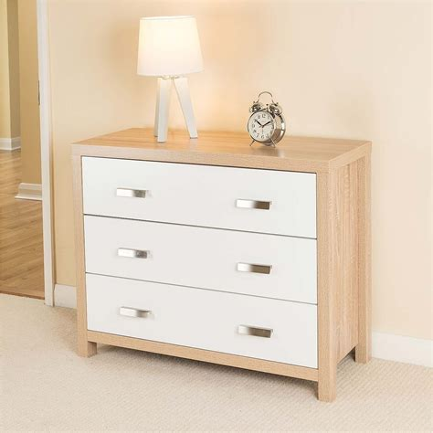 Bianco Oak Effect White Wood Drawer Chest Of Drawers