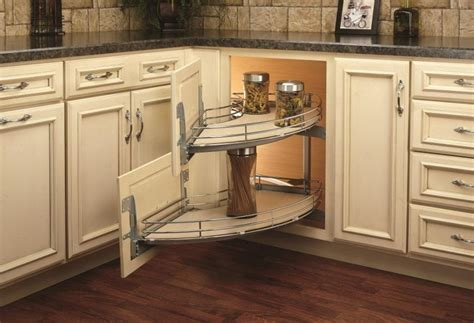 kitchen corner cabinet storage solutions a spin on the blind corner cabinet woodworking network 8244