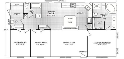 Fleetwood Wide Mobile Home Floor Plans by Single Wide Mobile Home Floor Plans Studio Design