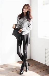 Love the winter look of the grey sweater black skirt black tights black ankle boots and ...