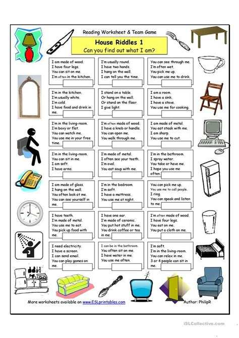 house riddles  easy worksheet  esl printable