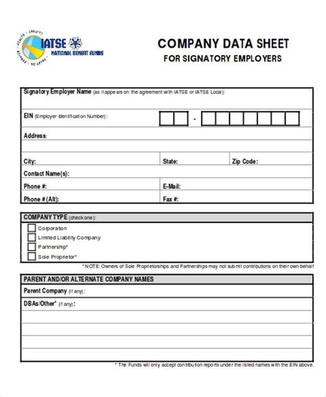 company sheet templates  sample  format