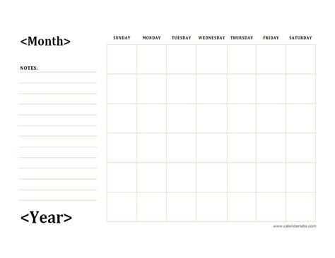 monthly blank calendar  day notes landscape