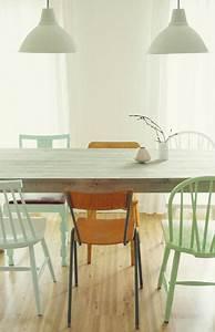 Chaises De Couleur Pour Salle A Manger : 14 id es de chaises d pareill es autour de la table d co cool ~ Teatrodelosmanantiales.com Idées de Décoration