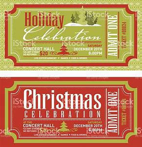 set of christmas concert tickets templates stock vector With christmas party tickets templates free