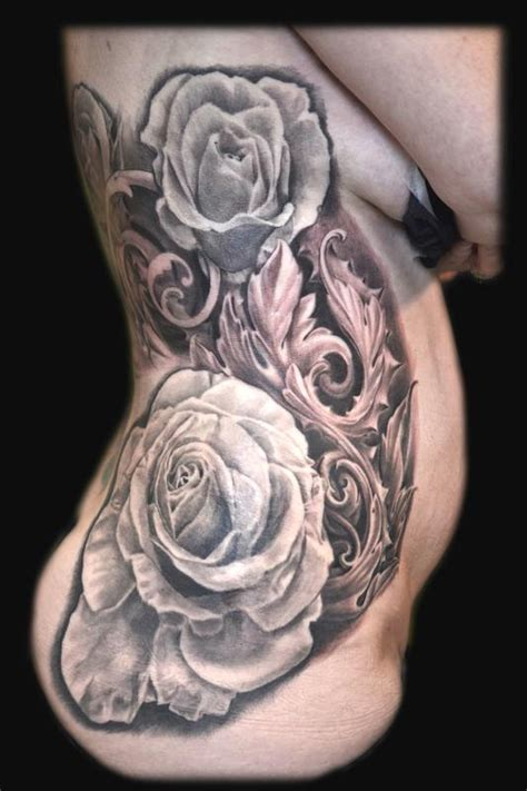roses  filigree rib tattoo  maximilian rothert tattoos