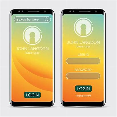 Login Mobile Application Landing Minimalism Clean Vector