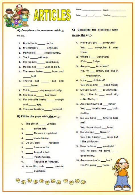 Articles Elementary Worksheet