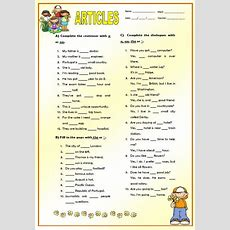 Articles Elementary Worksheet
