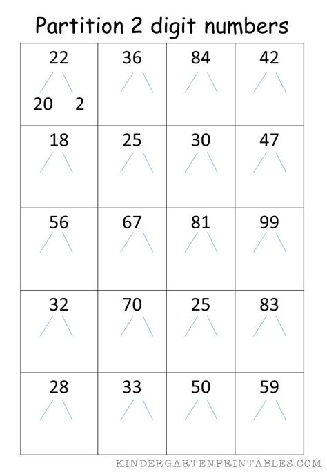 partition 2 digit numbers worksheet free printables