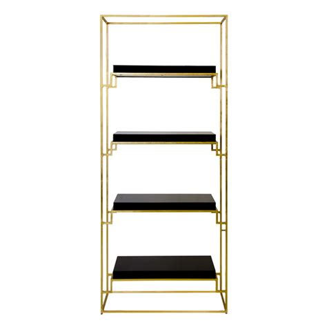 Worlds Away Etagere - worlds away gold leaf etagere with black lacquer shelves