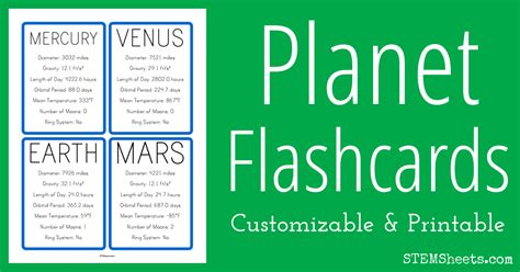 planet facts flash cards stem sheets