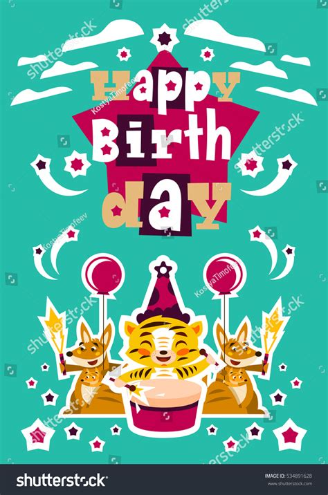 greeting card happy birthday designed printing stock