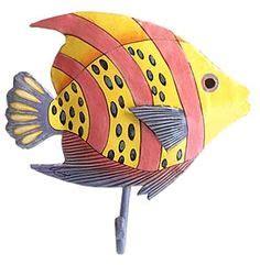 decorative towel hooks home coastal fish wall metal 3130