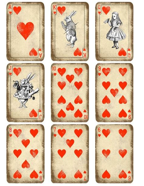 kitty playing cards printable alice  wonderland play