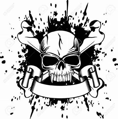 Skull Gangster Stencil Tattoo Tattoos Stencils Ribbon