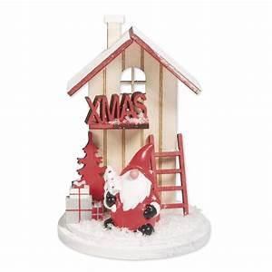 Maison De Noel Miniature : d cor miniature de no l piquer en bois 6x9 cm maison d 39 hiver rouge perles co ~ Nature-et-papiers.com Idées de Décoration