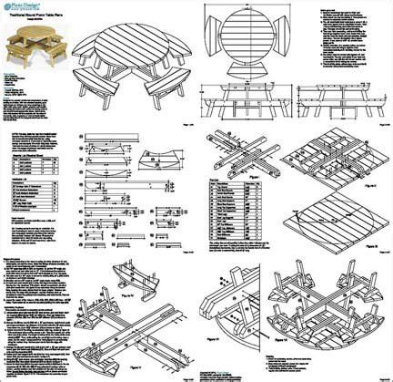 traditional  picnic table benches woodworking plans