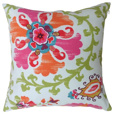 suzani in orange and pink outdoor cushion