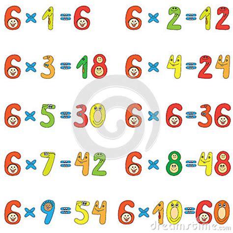la table de multiplication de 6 table de multiplication de 6 image stock image 25805521