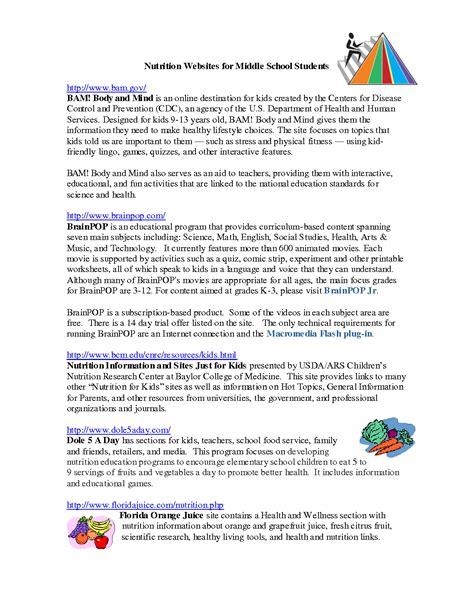 printables nutrition worksheets for middle school