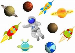 Cartoon space science items set Free vector in Adobe ...