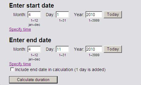 calculate number days