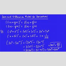 Calculus  Derivatives 5  The Sum And Difference Rules Youtube