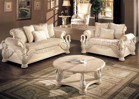 avignon antique white swan motif luxury formal living room