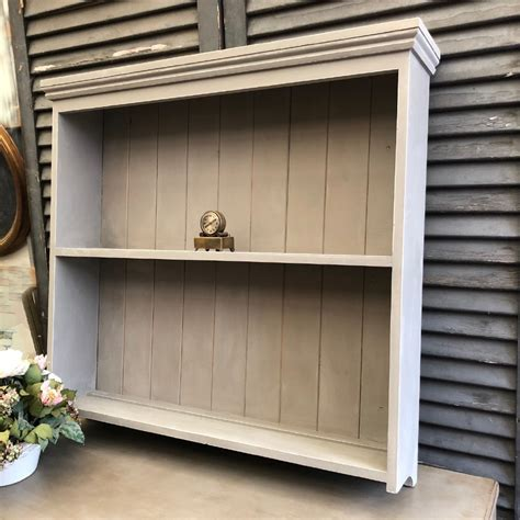 vintage grey painted pine wall hanged country farmhouse plate rack shelves unit shop crown