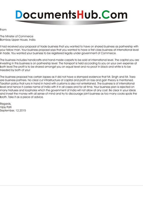 business proposal rejection letter documentshubcom