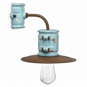 Lampenschirme Für Tischleuchten Vintage : ausgefallene wandleuchte im industriestil in eisen rost und farbiger glasur ~ Bigdaddyawards.com Haus und Dekorationen