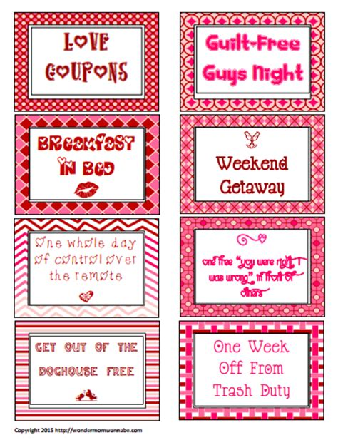 Free Printable Love Coupons For Valentine's Day