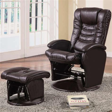 brown vinyl modern swivel glider chair w ottoman