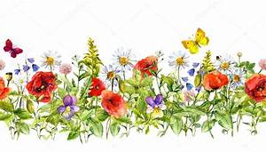vintage floral horizontal border watercolor meadow With tapis champ de fleurs achat