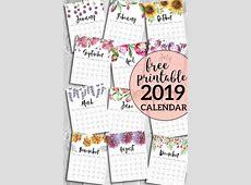 Free Printable Calendar 2019 Floral Calendars