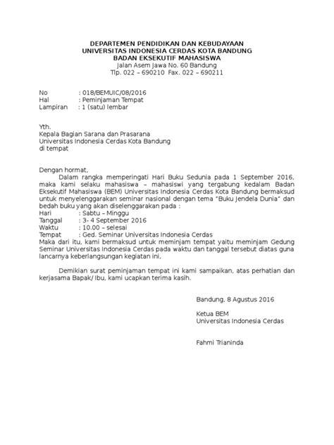 contoh surat peminjaman tempat wood scribd indo