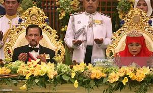 Sultan Hassanal Bolkiah And Wife  During A Dinner At