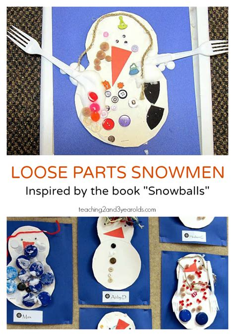 creative snowman for preschoolers 462 | Loose Parts Snowmen .