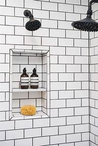White subway tiles with white grout design ideas for White bathroom tiles with black grout