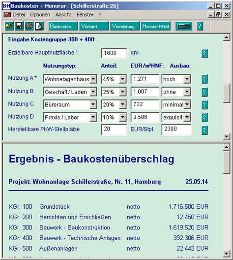 Aktuelle Baupreise Kostenlos by Baukosten Und Honorar Hoai Software
