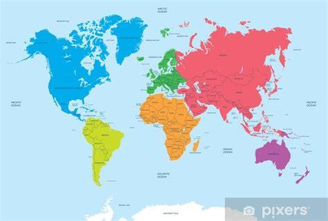 Fototapet Verdens kontinenter og politisk kart • Pixers ...