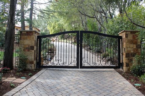 automatic ornamental iron driveway gates mediterranean