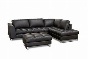black bonded leather valentino sectional sofa w metal legs With sectional sofa metal legs