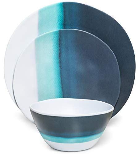 coastal melamine plates camco blue  white nautical design  piece dishware set includes