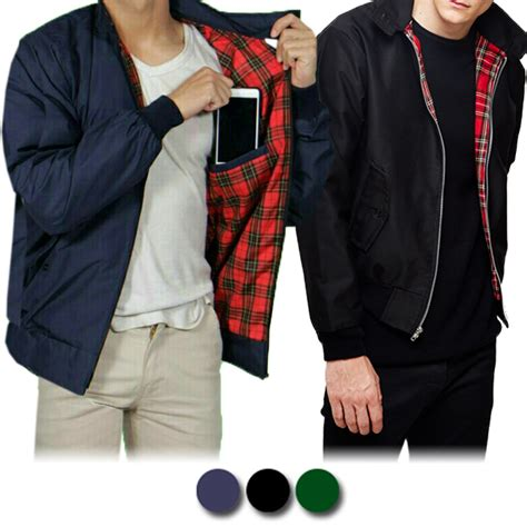 jaket harington motif kotak with pocket bahan taslan