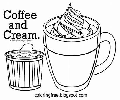 Coloring Pages Drawing Coffee Printable Drink Chocolate